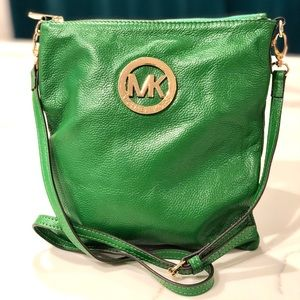 Authentic Michael Kors Green Leather Crossbody Bag